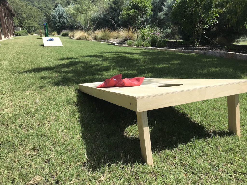 Cornhole Setup in Grass
